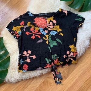Zara 💕Floral Tie Black Multi Crop Top Blouse S